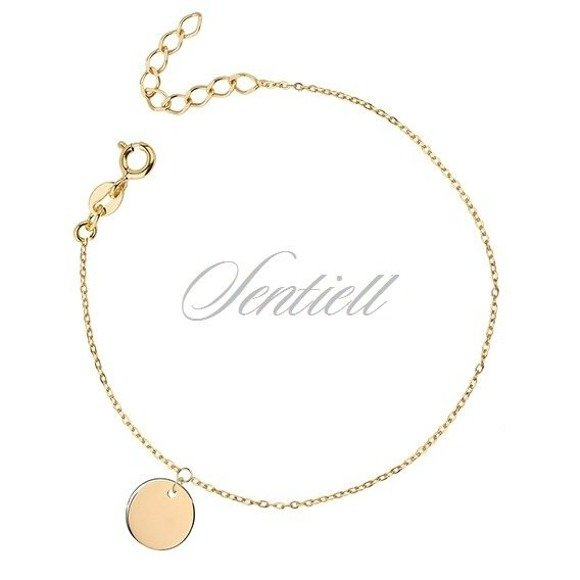 Silver (925) bracelet with gold-plated round pendant