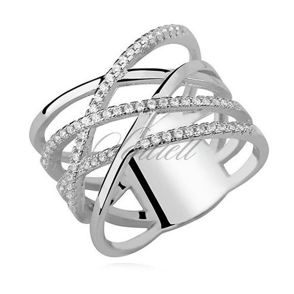 Silver (925) crossed ring with white zirconia