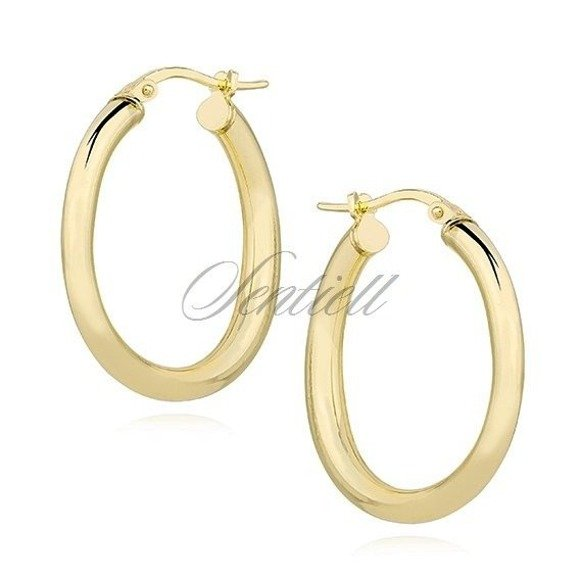 Silver (925) earrings hoops - gold-plated and highly polished