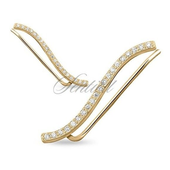 Silver (925) gold-plated cuff earrings with zirconia