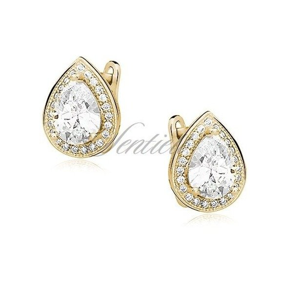 Silver (925) gold-plated earrings with white zirconia