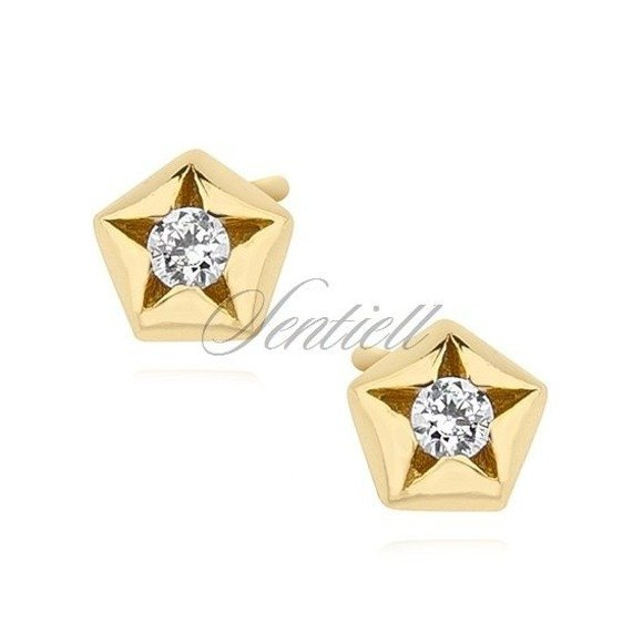 Silver (925) gold-plated star shape earrings with zirconia