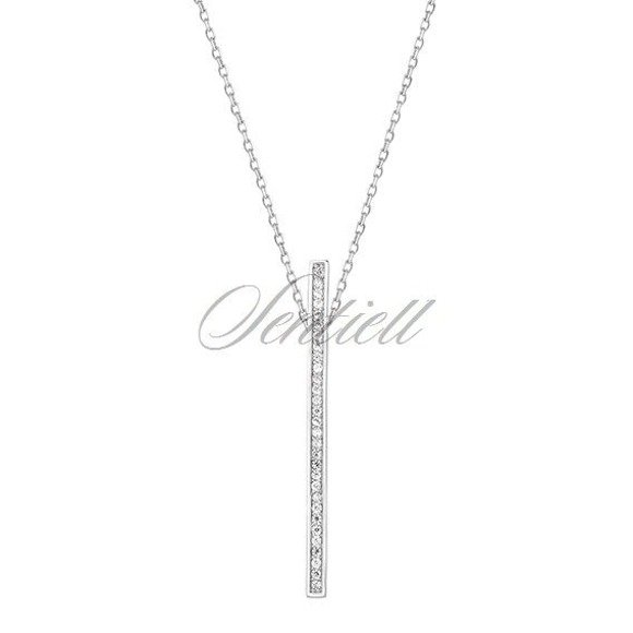 Silver (925) necklace - rectangle with zirconia