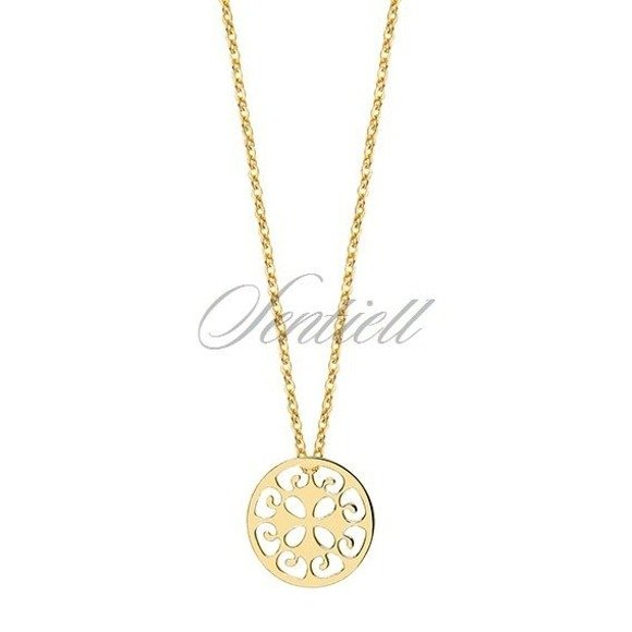 Silver (925) necklace withopen-work  round pendant - gold-plated